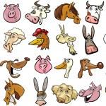 Cartoon farm animals heads huge set — Stock Vector