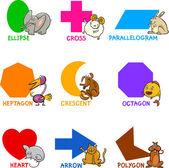 Basic Geometric Shapes with Cartoon Animals — Stock Vector