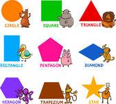 Geometrische basisvormen met tekenfilm dieren — Stockvector