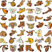 Cartoon funny dogs heads set — Vector de stock
