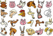 Cartoon farm animals heads huge set — Stock Vector
