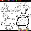 animals for coloring book or page — Stock Vector