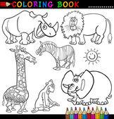ブックまたはページを着色のための動物 — ストックベクタ