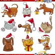 Cartoon Set of Christmas Cats and Dogs — Vettoriali Stock