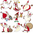 Cartoon Set of Christmas Themes — Stock Vector