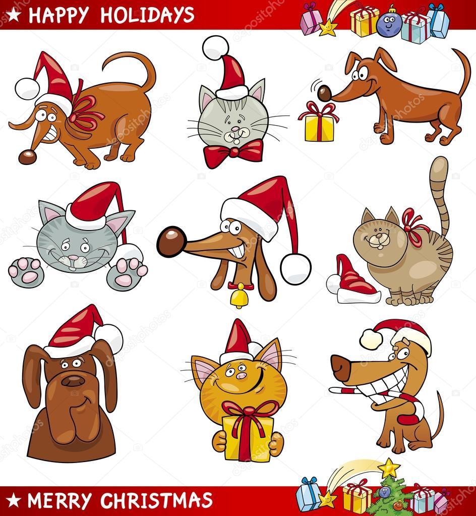 Conjunto de dibujos animados de perros y gatos Navidad \u2013 Ilustración de Stock