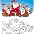 Cartoon Santa Claus Group for Coloring — Stock Vector