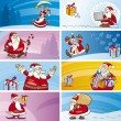 Cartoon Greeting Cards with Santa Clauses — Stock Vector