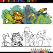 Stok Vektör: Wild Jungle Animals for Coloring