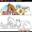 Farm and Livestock Animals for Coloring — Stockvectorbeeld