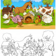 Farm and Livestock Animals for Coloring — Stock Vector #12647725
