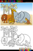 Wild Safari Animals for Coloring — Stock Vector