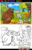 Wild Animals for Coloring — Stock Vector