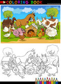 Farm and Livestock Animals for Coloring — Stock Vector