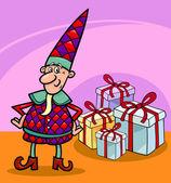圣诞精灵或 gnome 卡通本を着色のクリスマスのエルフ — Stock vektor