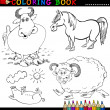 Farm Animals for Coloring Book or Page — Stock Vector