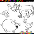Farm Animals for Coloring Book or Page — Stock Vector #12880262