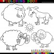 Stock Vector: farm animals for coloring book or page