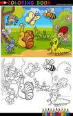 Insetti e insetti per colorare il libro o pagina — Vettoriale Stock