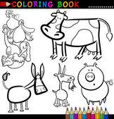 Hospodářská zvířata pro obarvení kniha nebo stránky — Stock vektor