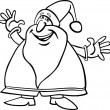 Santa claus cartoon for coloring book — Stock Vector