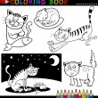 Cartoon Cats for Coloring Book or Page — Stock Vector #13147489