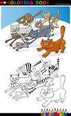 Running Cats for Coloring Book or Page — Stock Vector