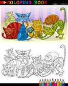 Cartoon Cats for Coloring Book or Page — Stock Vector