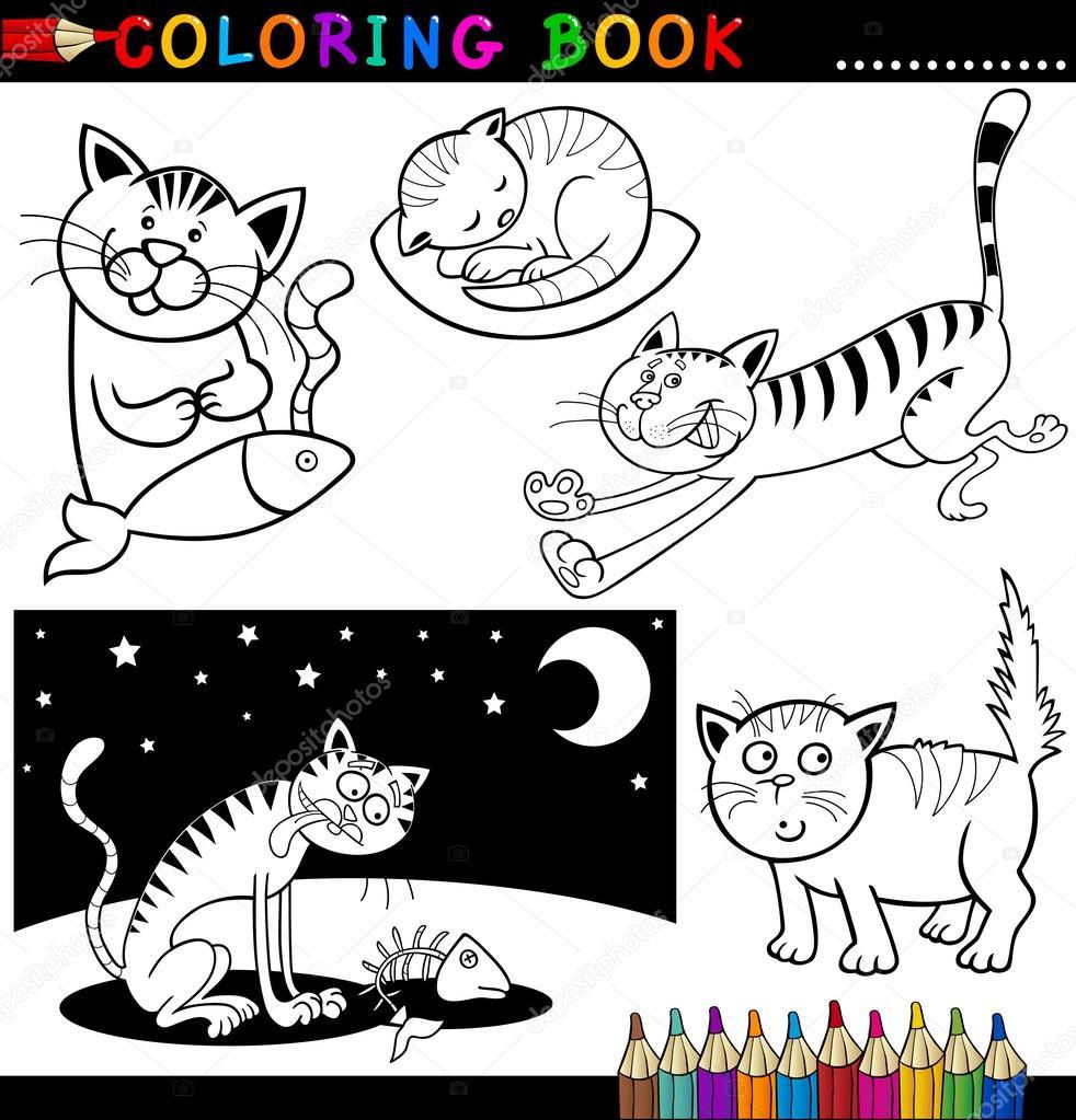 Colorear libro o página de ilustración de dibujos animados de gatos graciosos para niños\u2014 Vector de izakowski