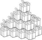 Haufen von geschenken zum ausmalen — Stockvektor