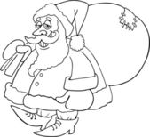 Cartoon santa claus for coloring book — Stock Vector