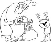 Santa with kid for coloring book — Stock Vector