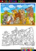 Kreslený psy pro obarvení kniha nebo stránky — Stock vektor