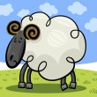 Cartoon illustration of ram or sheep — Stock Vector