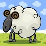 Cartoon illustration of ram or sheep — Stock Vector