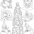 Stock Vector: Cartoon Christmas Themes for Coloring