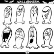 Halloween Ghosts Emoticons for Coloring — Stock Vector #13422785