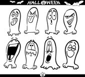 Halloween Ghosts Emoticons for Coloring — Stock Vector