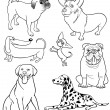 Cartoon Dogs for Coloring Book or Page - Stok Vektr