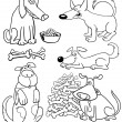 Cartoon Dogs for Coloring Book or Page — Stock Vector #13480985