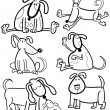 Cartoon Dogs for Coloring Book or Page — Stock Vector #13481005