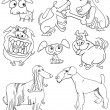 Stock Vector: Cartoon Dogs for Coloring Book or Page