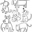 Cartoon Dogs for Coloring Book or Page — Stock Vector