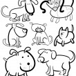 Cartoon Dogs for Coloring Book or Page — Stock Vector #13481021