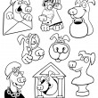 Cartoon Dogs for Coloring Book or Page — Stock Vector #13481033