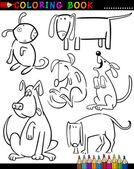 Tecknade hundar för färg bok eller sida — Stockvektor