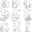 Cartoon Alphabet with Animals for coloring — Stock Vector