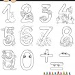 Numbers with cartoon animals for coloring — Stock Vector