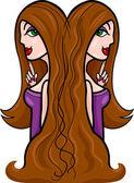Women cartoon illustration gemini sign — Stock Vector