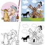 Don Quixote for coloring — Stock Vector
